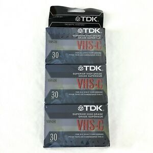 TDK VHS-C Superior High-Grade Blank Camcorder Tapes New Sealed Pack of 3