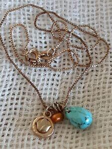 Ross-Simons 925 Sterling Multi-Gemstone Teardrop Peace Pendant Chain Necklace