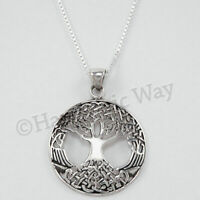 """CELTIC TREE OF LIFE Necklace Pendant STERLING SILVER 18"""" Italy box Chain 925"""
