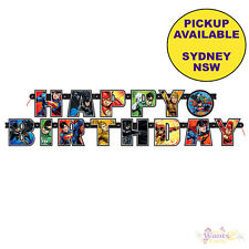 JUSTICE LEAGUE PARTY SUPPLIES HAPPY BIRTHDAY BANNER SUPERHERO DECORATIONS