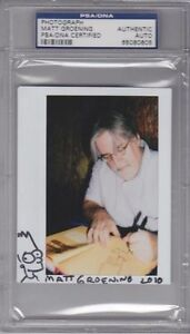 "MATT GROENING Signed Autographed ""BART SIMPSON"" Sketch Photo PSA/DNA SLABBED"
