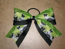 """NEW """"LIME & BLACK BUTTERFLY"""" Cheer Bow Pony Tail 3"""" Ribbon Girls Cheerleading"""