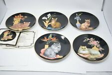 Lot of 5 Sophisticated Ladies Cat Designer Plates Collection Aldo Fazio 1985