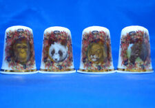 Birchcroft China Thimbles -- Set of Four -- Safari Wildlife