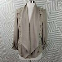 New Chicos size 1 Medium Open Front Blazer Lace Draped Roll Tab Sleeve Jacket