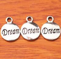 50pcs 15mm Dream Words Charms Tibetan Silver DIY Jewelry Findings Charm S107