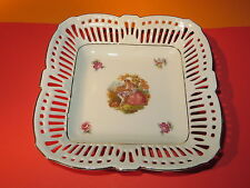 Reticulated Square Bowl  Dish By Schwartzenhammer Bavaria Germay Victorian