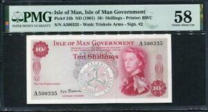 Isle of Man 1961, 10 Shillings, P24b, PMG 58  AUNC