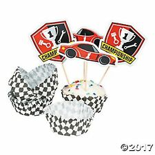 100PC RACE CAR CHECKER FLAG Party Cupcake Wrappers with Picks 50 Wraps 50 Picks