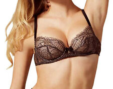 AGENT PROVOCATEUR SOIREE Sianna Snakeskin-Effect Coating Black Bra UK 34D BNWT