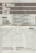 Instruction User's Manual Nikon AF Nikkor 28mm f/2.8D Multilingual