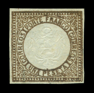PERU 1863 Coat of Arms  1p brown  Scott # 13  mint MH VF