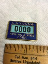 Antique Employee Badge L A Young Spring & Wire Corp Detroit by Whitehead & Hoag