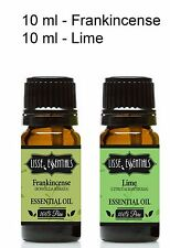 Set of 2 10 ml Bottles Of Essential Oil, 100% Pure, Lime, Frankincense