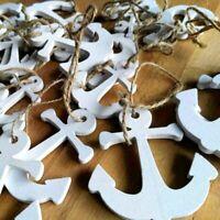20 x Holz Weiß Anker Anchor Maritime Schnur Vintage sortiert verschiedene Größen
