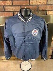 Vintage New York Yankees MLB Baseball Snap Varsity Jacket Mens Size Large Blue