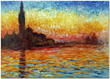 """Sunset View of Saint Georges - Hand Painted Claude Monet Oil Painting 24x16"""""""