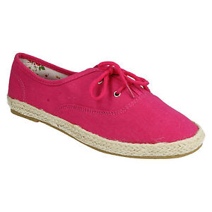 SPOT ON LADIES LACE UP FLAT CASUAL EVERYDAY SUMMER CANVAS PUMPS