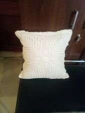 """Crochet Full Lace Cushion Cover size 18""""x 18"""" white color Handmade"""