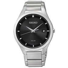 Seiko Solar Stainless Steel Silver Tone Black Dial Men's Watch SNE241