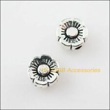 40 New Tiny Flower Charms Tibetan Silver Tone Spacer Beads 6mm