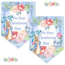 Bunny Rabbit Christening Bunting, Kids Banner, Baby Boy, Blue Bunny, Garland