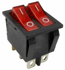 Red illuminated Lighted On/Off Dual Snap-in Rocker Switch 240V 15a