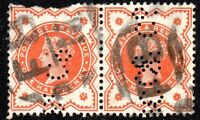 GBStamps:1887 SG197 ½d Vermilion pair (C&Co Perfin)with Foreign Branch Handstamp