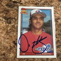 Dave Martinez Signed 1991 Topps Auto Chicago Cubs Washington Nationals Expos
