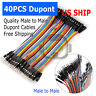 1X 40PCS Dupont Wire Jumper Cables 10cm 2.54MM Male to Male 1P-1P For Arduino