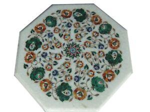"18"" Marble corner sofa Table Top Inlay Pietra dura Floral art Home Decor"