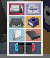 Nintendo NES SNES N64 GameCube Wii Wii U Switch Consoles Illustrated Art Poster