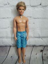 2010 Mattel Barbie Surfer Ken Doll, Blonde Shaggy Hair Shark Tooth
