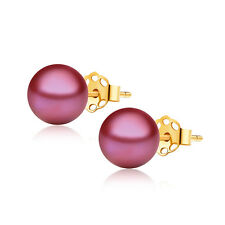 Freshwater Cranberry Red Pearl Studs Earrings 7.5 mm AAA 14K Solid Yellow Gold