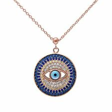 Rose Gold Plated Nano Turquoise Evil Eye .925 Sterling Silver Pendant Necklace
