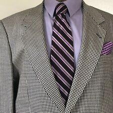 Guy Laroche Paris Mens Black/White Plaid 2 Button Suit Jacket Size 40 Short