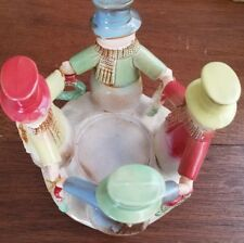 "Vintage Snowman Christmas Candle Holder Circle 7"" Bottom Diameter Ceramic"