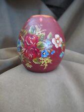 "Dutch Vintage Hindeloopen  Folk Art Wooden Hand Painted Candle Holder 3"" tall"