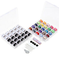 50 Pieces 2 Bobbin Sewing Thread Kit Bobbins and Sewing Thread Assorted Colors