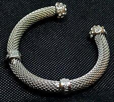 Armani Exchange Bracelet Cuff Silver Tone Mesh Crystals Rhinestones B265 NWOT