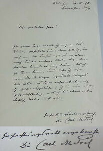 Philosopher & Okkultist Carl Of Prel (1839-1899): Signed Letter Munich 1898