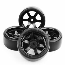 4Pcs 1:10 RC Flat Drift Tires and 12mm Hex Wheels For 1/10 On-Road Racing Car