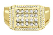 10K YELLOW GOLD .61 CARAT MENS REAL DIAMOND ENGAGEMENT WEDDING PINKY RING BAND