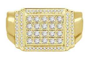 10K YELLOW GOLD .60 CARAT MENS REAL DIAMOND ENGAGEMENT WEDDING PINKY RING BAND