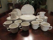 Vintage Homer Laughlin restaurant ware 33 pcs plates cups creamers tan leaves