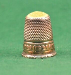 900 Silver Thimble w/ Yellow Glass Top Antique