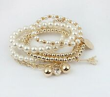 Gold Multilayer Pendant Pearl Beaded Metal Charm Bangle Chain Jewelry Bracelet
