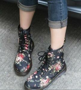 Vintage Womens Lace Up Canvas Flat Causal Shoes Ankle Boots Round Toe Floral ADE
