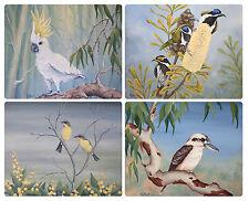 4 x LARGE PLACEMATS (360x290mm)- AUSTRALIAN MADE - NATIVE BIRDS/FLORA