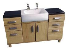 Mobili per casa delle bambole: unità lavello in legno con 6 cassetti e 2 ante scala 12th
